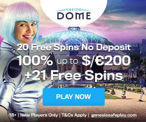 Latest no deposit bonus from Casino Dome