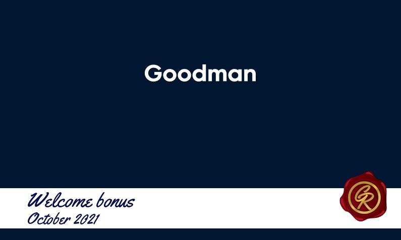 Latest Goodman recommended bonus October 2021, 100 Free spins bonus