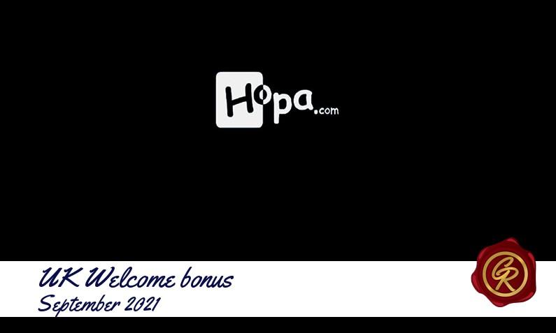 Latest UK Hopa Casino recommended bonus September 2021, 20 Extra spins