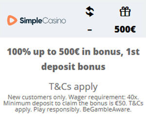 Latest no deposit bonus from Simple Casino